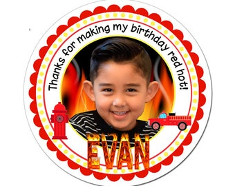 Custom Photo Birthday Labels Fire Truck Fire Man Theme Round Glossy Favor Stickers