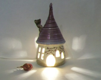 Garden Fairy House/ Night Light - with a Purple/Plum  Roof - a Chimney - Hand Made on Pottery Wheel - Hand Painted Vine - Ready to Ship
