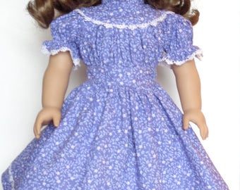 Purple Floral Pioneer Dress For American Girl Or Similar 18-Inch Dolls