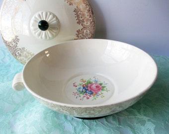 Vintage Serving Bowl Taylor Smith and Taylor Dark Green Floral