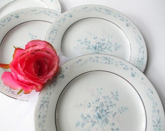 Vintage Noritake Salad Plates Carolyn Blue Pink Set of Four