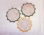 RESERVED FOR PATSY Three Crochet Lace Doilies, Cottage Chic Table Accessories, New Home Decor, Ecru, Myrtle Green, Goldenrod