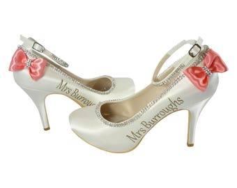 Coral Rhinestone Bows on Ivory Bridal Heels with Gold Mrs Last Name Personalized on the side