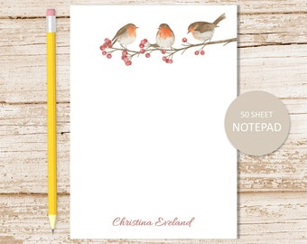 personalized notepad . robin note pad . watercolor robins, berry tree, birds, nature personalized stationery . stationary gift