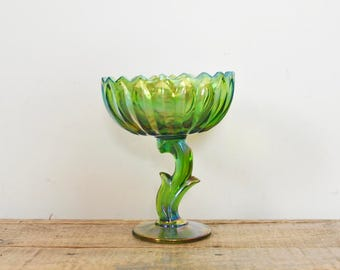 Vintage Iridescent Green Glass Lotus Blossom Candy Dish Pedestal Compote Spring Decor Party Serving