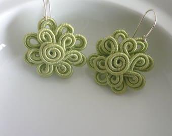 Moroccan soutache flower earrings, handmade,  soft green art silk