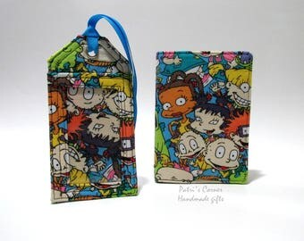 Passport cover and matching luggage tag - Rugrats  Chuckie, Angela, and Tommy with their friends - birthday gift ideas - Ready to ship