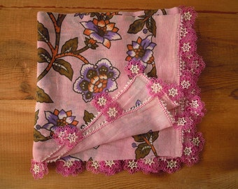 turkish scarf with tatted trim, cotton, oya, violet pink