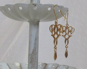 Victorian-Style Filigree Dangle Earrings, Gold-Filled Earwires, Civil War Appropriate, Affordable Elegance