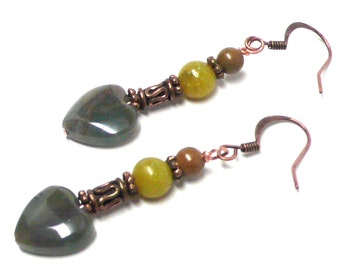 12mm green jasper heart earrings with copper