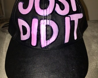 JUST DID IT Black Vegan Leather Hat with Pink Lettering