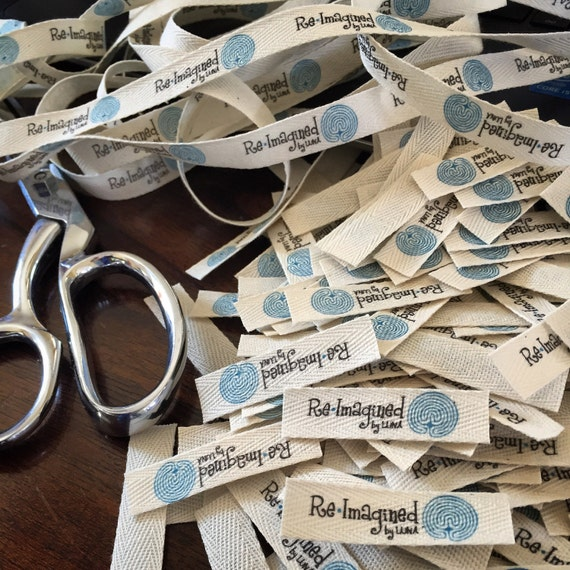 Twill, Half Inch Ribbon, Cut - Flat or Folded, CUSTOM Printed Sew-in Fabric Label (natural and white)