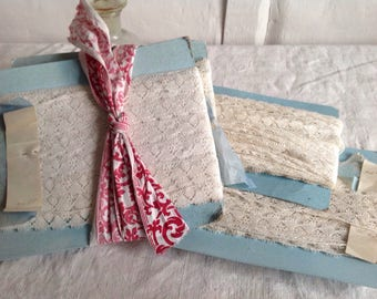 Antique Laces, Vintage Lace Trim/ Off White Trim / Dolls Bears Ballet. Full card 28 yd Vintage Wedding & Home Furnishings / Old New Stock!
