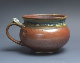 Handmade pottery soup mug ceramic chili mug cereal ice cream bowl iron red 22 oz 3762