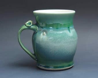 Pottery beer mug, ceramic mug, stoneware stein jade green 24 oz 3918