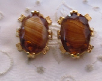 Vintage Gold Tone Faux Glass Tiger's Eye Clip On Earrings