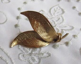 Vintage 14 K. Gold Filled Leaf Brooch by Wells