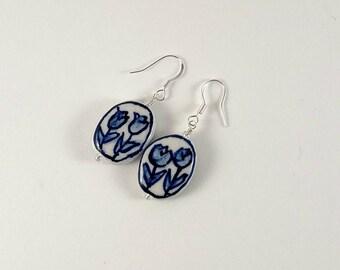 Tulip Earrings, Porcelain Dangle Earrings, Sterling Silver Earrings, Spring Tulips, Handmade Earrings, Shop Local Cny, Flower Earrings