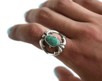 Vintage Sterling Silver Ring With Turquoise c.1970s