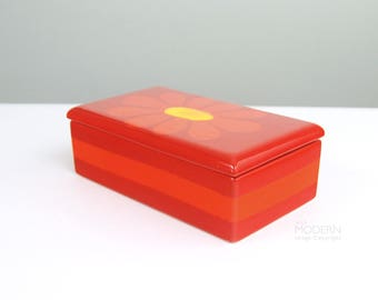 Colorful Modernist Red Orange Floral Covered Pottery Box Mid Century Italian