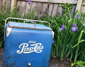 Vintage Pepsi Cooler Blue Metal Ice Chest