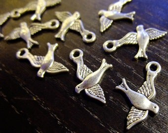Destash (10) Flying Sparrow Bird Charms - for pendants, jewelry making, crafts, scrapbooking