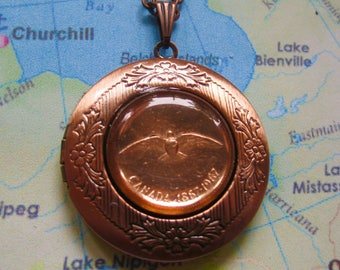 1967 Canada Albatross Commemorative One Cent Copper Coin Locket with Antiqued Copper Chain