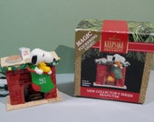1991 Hallmark Peanuts  Keepsake Ornament Magic Flickering Light New Collector's Series Handcrafted Holiday Original Box Collect Tree Display
