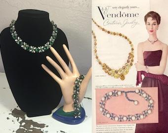 Stunning Them All - Vintage 1950s Vendome Emerald Green & Clear Choker Necklace Bracelet Set