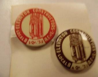 Vintage Union pins, Labor Union pins, elevator  workers union, 1953 1951  union pinback