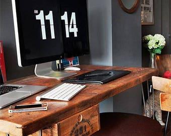 Rustic Reclaimed Wood Desk handmade of reclaimed wood with steel mid century legs