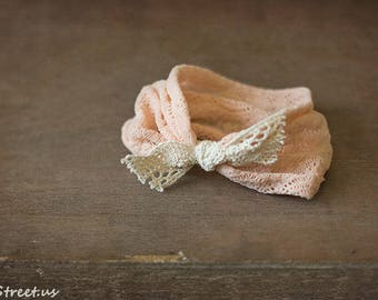 Baby Headband, Blush Pink Headband, Newborn Headband, Baby Girl Photo Prop,Newborn Props, RTS, Baby Props, Cotton Bow