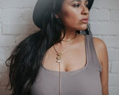 MOON PHASE Lariat / Brass Y Drop Necklace / Boho Rosary Necklace