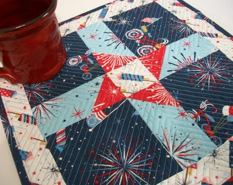 Patriotic Mug Rug Placemat Red White Blue Quilted Quiltsy Handmade FREE U.S. Shipping Memorial Day 4th of July Veterans Day Independence Day