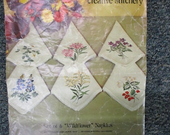 Vintage embroidery, unfnished,set of 4 linen napkins to embroider, Paragon needlecraft