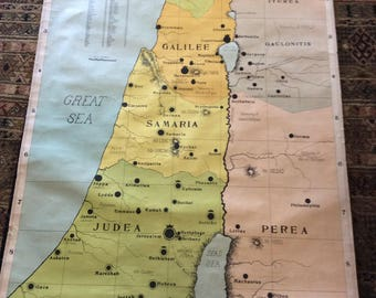 SALE ! Map Of The New Testament Chart of The Palestines Biblical Sunday School Map Israel and Palestine Dated 1904 Was 195.00 now 150.00