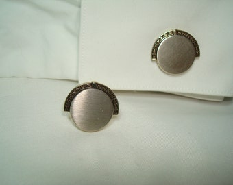 HICKOK Pewter Like and Gold Tone Cufflinks.
