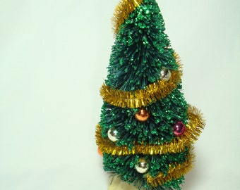 1970s LeMAX Bottle Brush Green Decorated Christmas Tree.