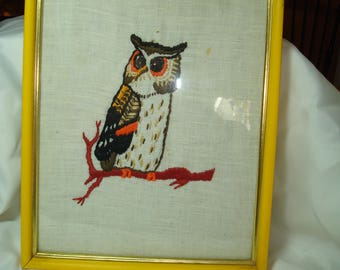 1960s Handmade Embroidered Owl in a Bright Yellow Frame with Glass.