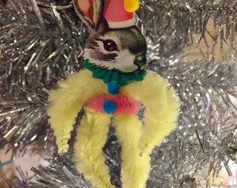 Retro Chenille feather tree ornament rabbit in party hat