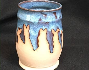 Watership Down inspired cup/vase, 18 ounces, rutile blue