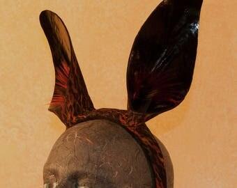 Black and Red Rabbit Ear Headband