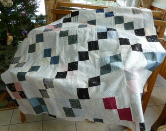 Turn of the century quilt blocks indigos,shirting, a restoration project!
