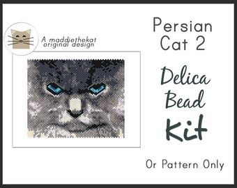 Persian Cat 2 Small Panel Seed Bead Peyote Pattern PDF or KIT DIY Animal Feline Pet