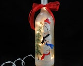 """Lighted Wine Bottle Snowman Frosted Hand Painted 11 1/2"""" H x 3"""" Dia. 750ml"""