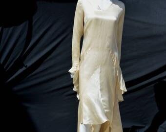 Vintage 20's wedding dress Original art deco 20-30's flapper wedding small party nuptials gatsby by thekaliman