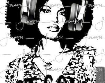 Designer Graphic T-shirts - Music Madness Series - DJ Shirts - Afro Girl - Got Soul- Got Beats