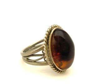 Amber Baltic Ring Vintage Size 7.0 Genuine 3.94 Gr Cognac Color