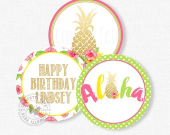 "Pineapple Party Centerpiece Circles, Luau Birthday Decorations, Pineapple Table Decor, Printable 4"" Party Circles"