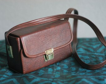 Brown Rectangular Vinyl Faux Leather Pleather Camera Bag Case Purse